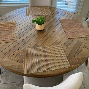 Multicolored wood placemats